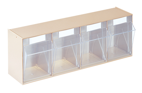 """""""Een set van vier stala kantelbakken. Kopen voor in het magazijn, wordt als kast gebruikt."""" title=""""Een set van vier stala kantelbakken"""""""