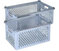 """""""Aluminium manden die stapelbaar zijn. Op maat zonder deksel kopen."""" title=""""Aluminium manden die stapelbaar zijn."""""""