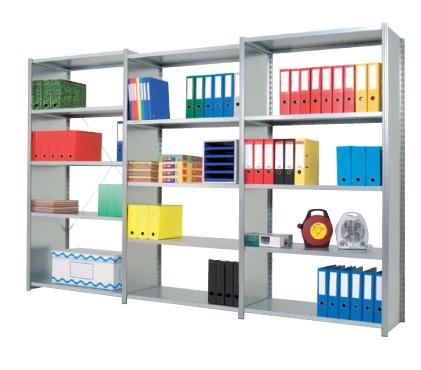 De legborden van de Epsilon stalen rek stellingen zijn geschikt voor lage lasten zoals archiefmappen.